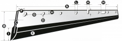 Mosókés, Wash-up blade A=550mm B=58mm C=0,5mm D=6 db furat E=Metal+Rubber