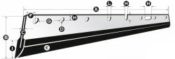 Mosókés, Wash-up blade A=600mm B=60mm C=0,5mm D=6 db furat E=Metal+Rubber